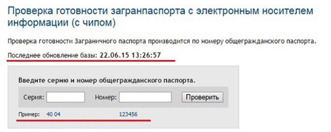Страница ввода информации для проверки загранпаспорта на готовность