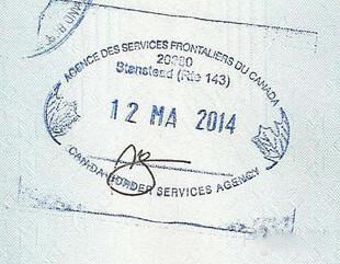Пограничный штамп Канады