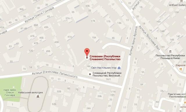 Посольство Словении в Киеве на карте