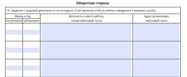 Часть заявления со сведениями о трудовой деятельности