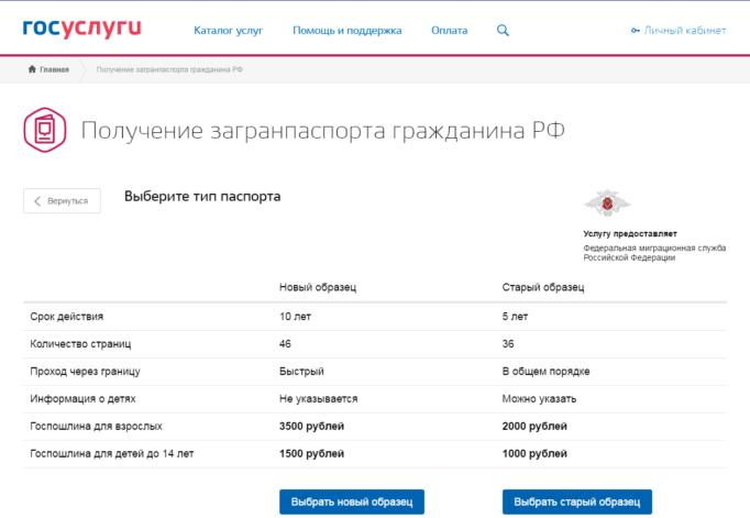 Страница портала государственных услуг