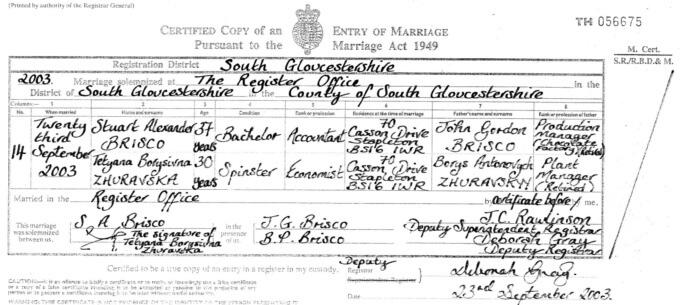 Свидетельство о браке в Англии