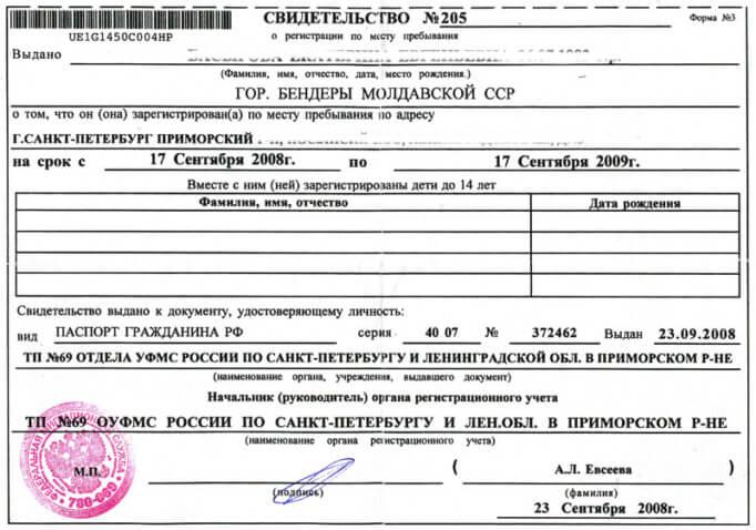 Свидетельство о регистрации иностранного гражданина