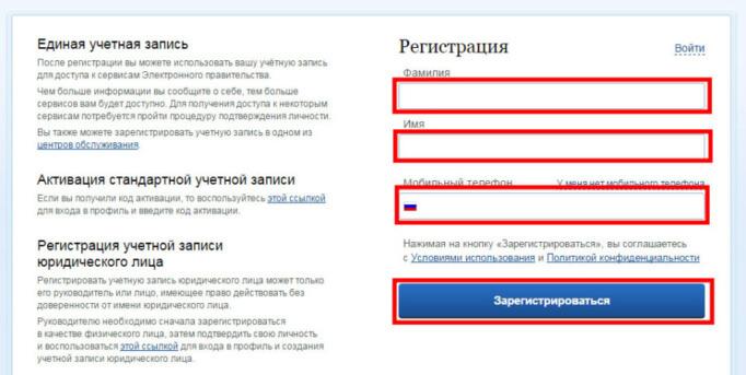 Страница регистрации на портале Государственных услуг