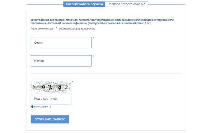 Страница введения данных для проверки готовности паспорта