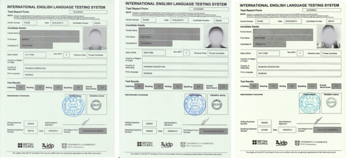 Образцы сертификатов IELTS
