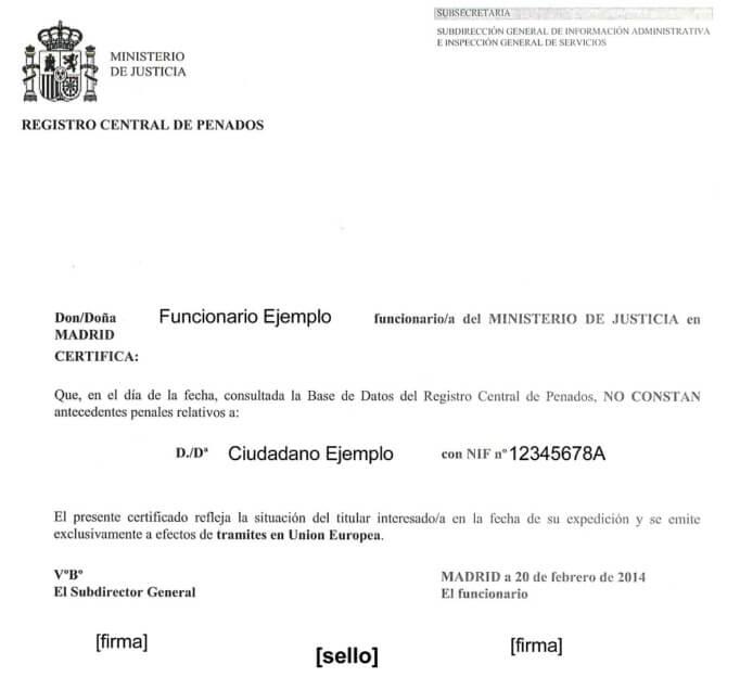 Испанская справка о несудимости