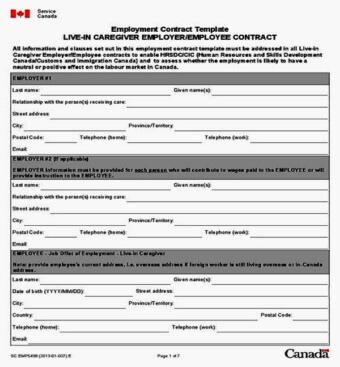 Трудовой договор с канадским работодателем