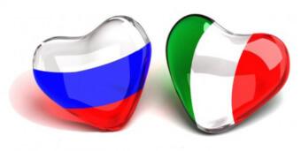 Флаг Италии и России