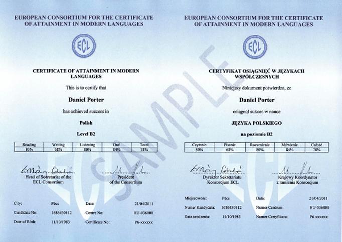 Сертификат о знании польского языка