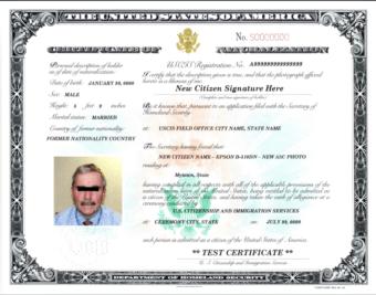Сертификат о получении американского гражданства