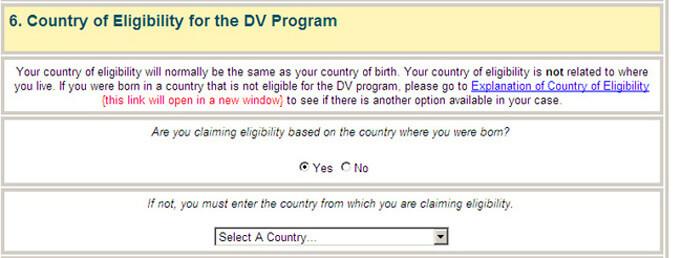 Часть анкеты со страной, участницей в лотерее