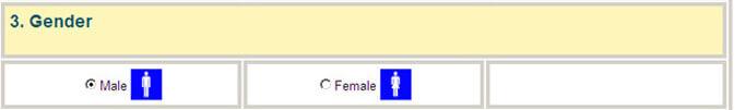 Часть анкеты с выбором пола