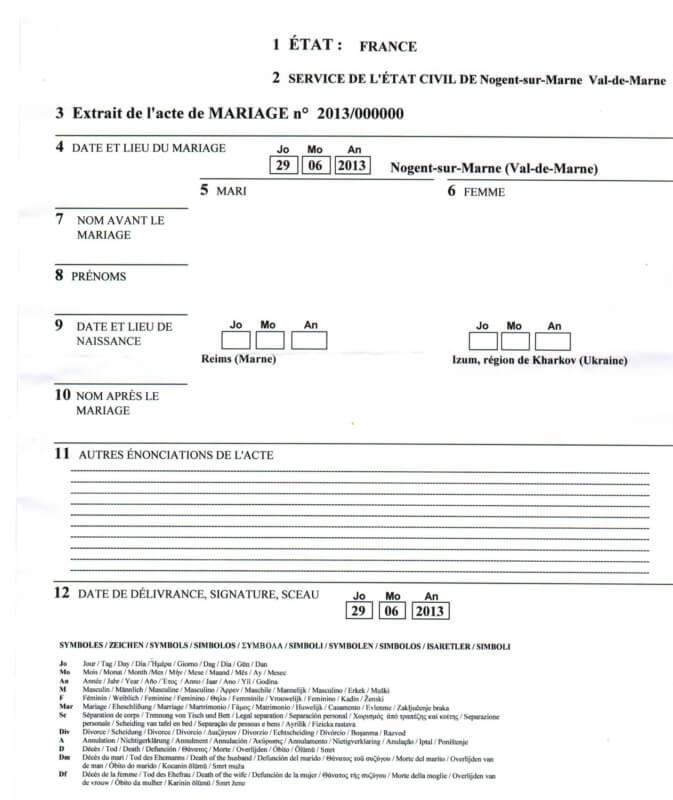 Разрешение на заключение брака во Франции
