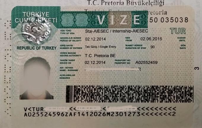Визовое разрешение в Турцию